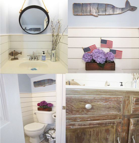 August tiny half bath makeover with plankboard