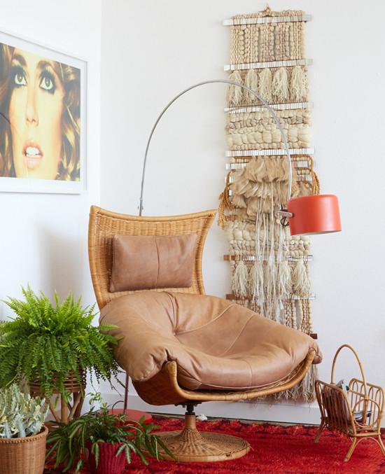 70s-Gift-Guide_Retro_Boho_Living-Room_Wicker-Chair_Shag-Rug_Emily_Henderson