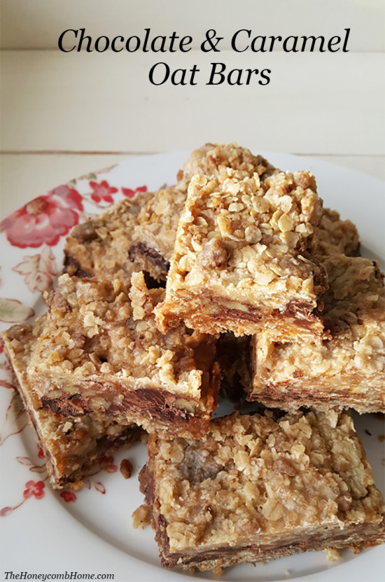 Chocolate and Caramel Oat Bars The Honeycomb Home