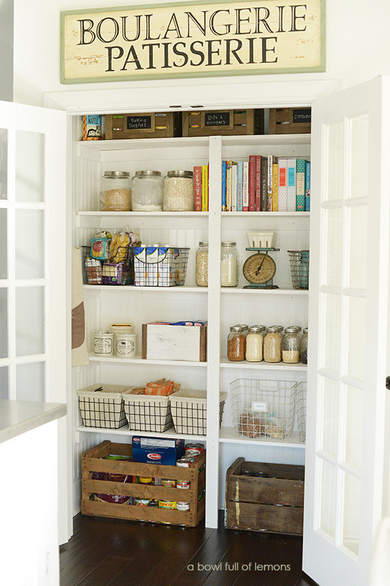 Organized Pantry with french doors