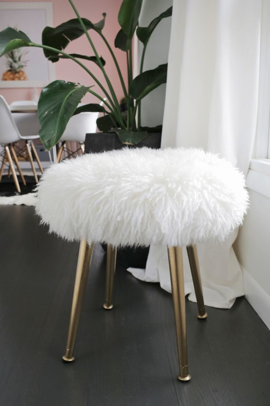 DIY Gold stool with faux fur