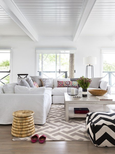 all white room lots of light patterned poof