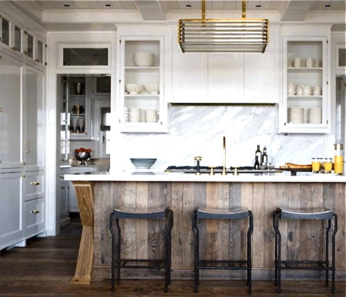 Kitchen Island with reclaimed wood
