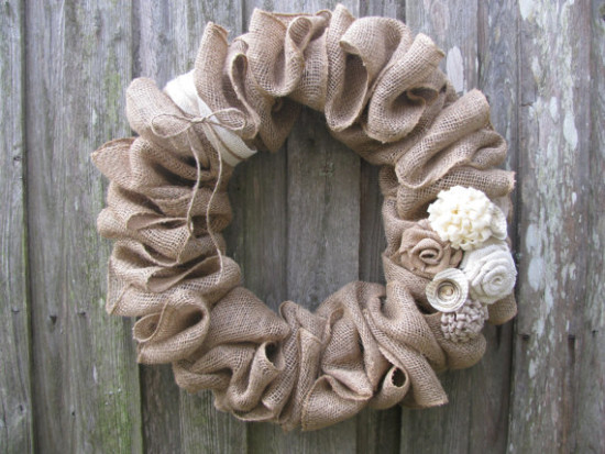 Burlap Wreath with Lace