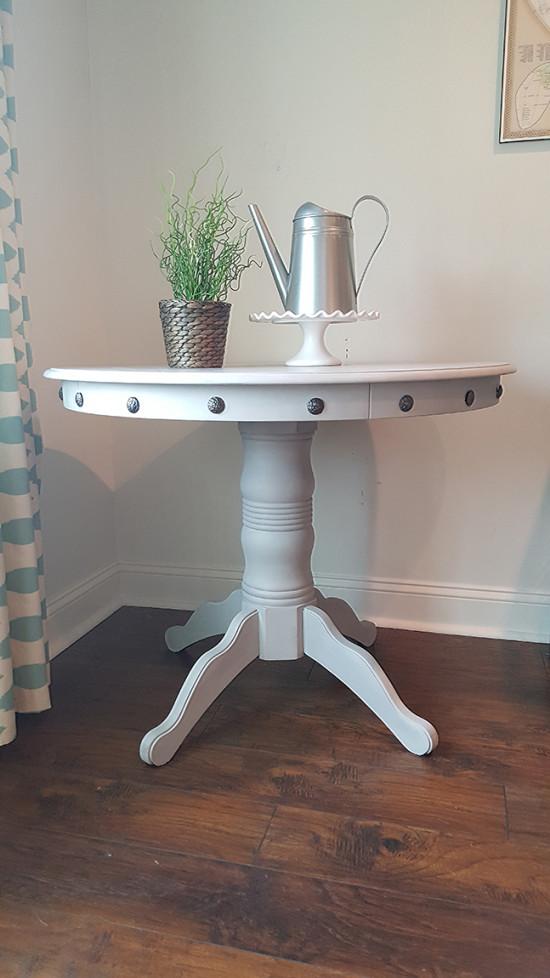 Pedestal table with nailhead trim DIY