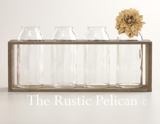 Rustic milk bottle vases Etsy
