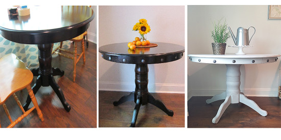 before during and after table makeover