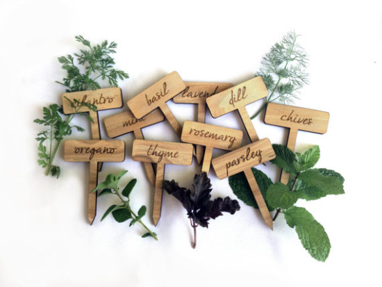 engraved wooden herb markers