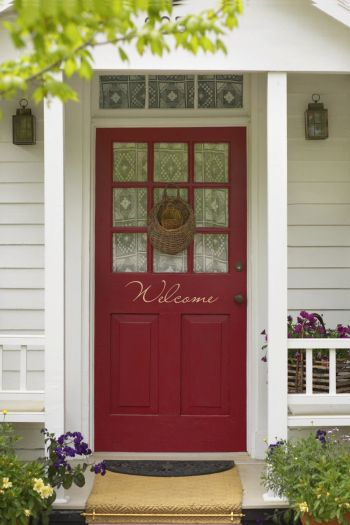 curb appeal ideas-red painted front door