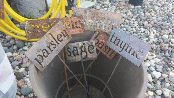 rustic steel garden markers