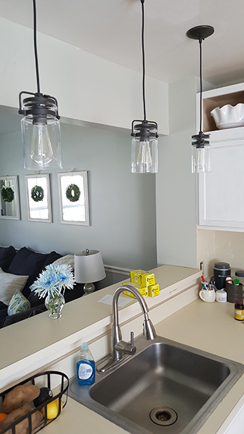 Pendant lights over sink area