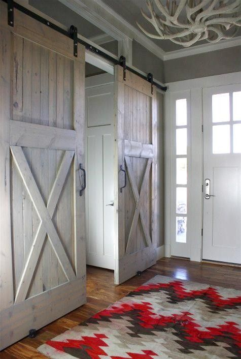 Transitional Spaces-entry with sliding barn doors