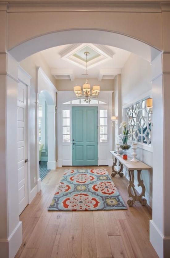 Blue entry door Highland Custom Homes