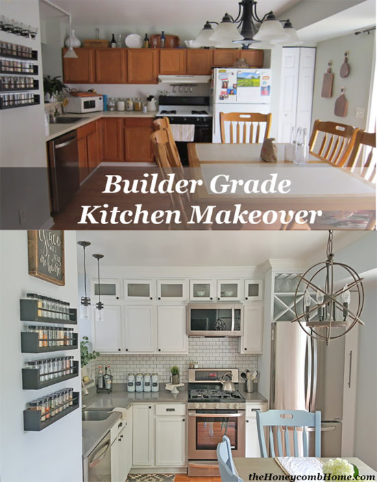 Builder Grade Kitchen Makeover Before and After the Honeycomb Home Pin