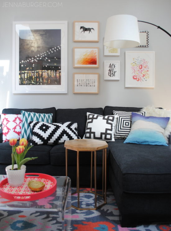 colorful living room makeover from Jenna Burger