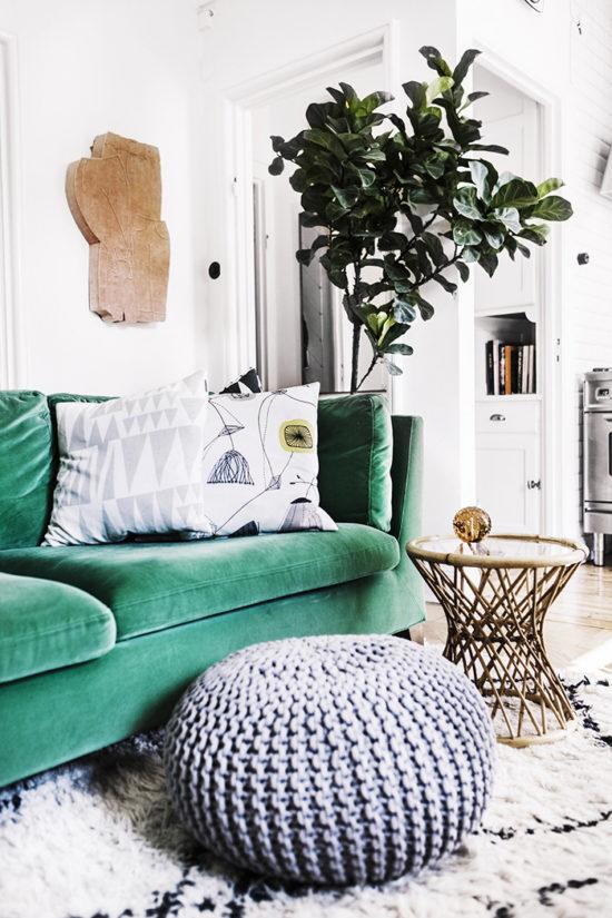 green touches home decor