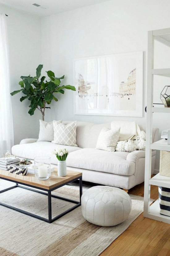 clean white living room