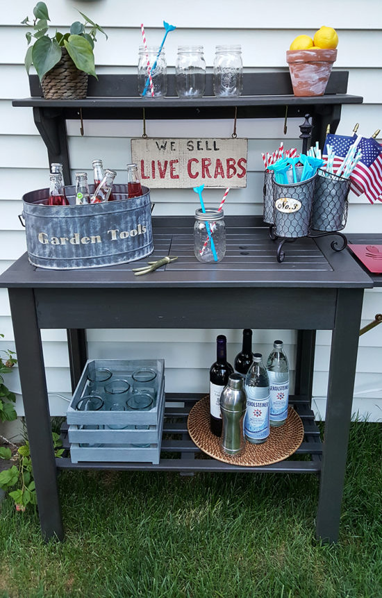 Potting Bench Bar Cart The Honeycomb Home