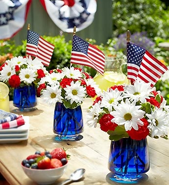 red white and blue centerpiece