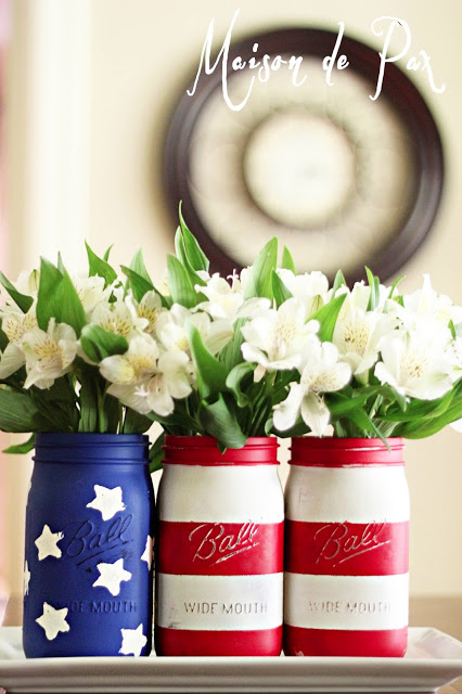 red white blue mason jars