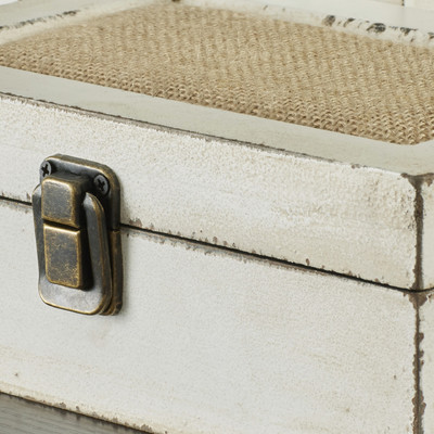 decorative wood and burlap boxes