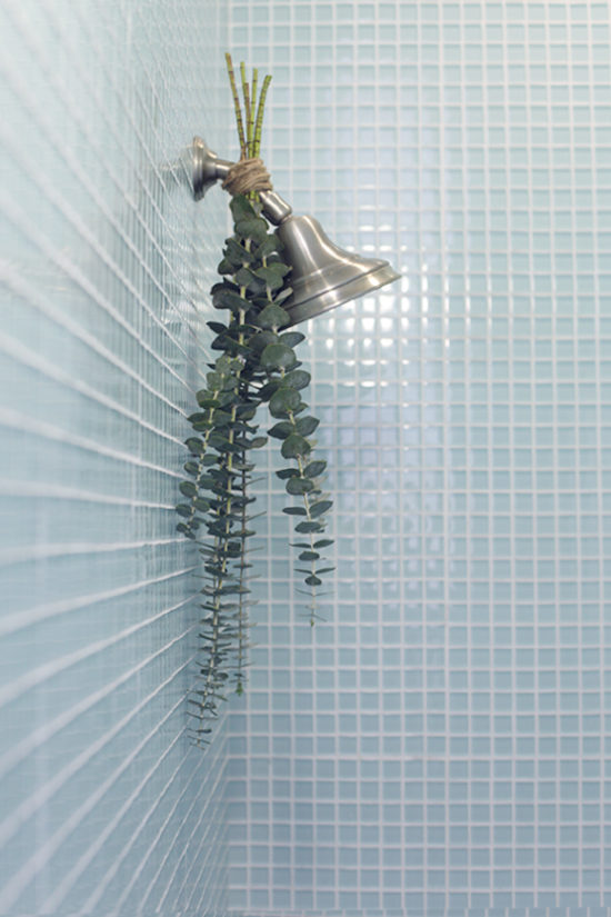 Eucalyptus-on-shower-head for a spa like feel