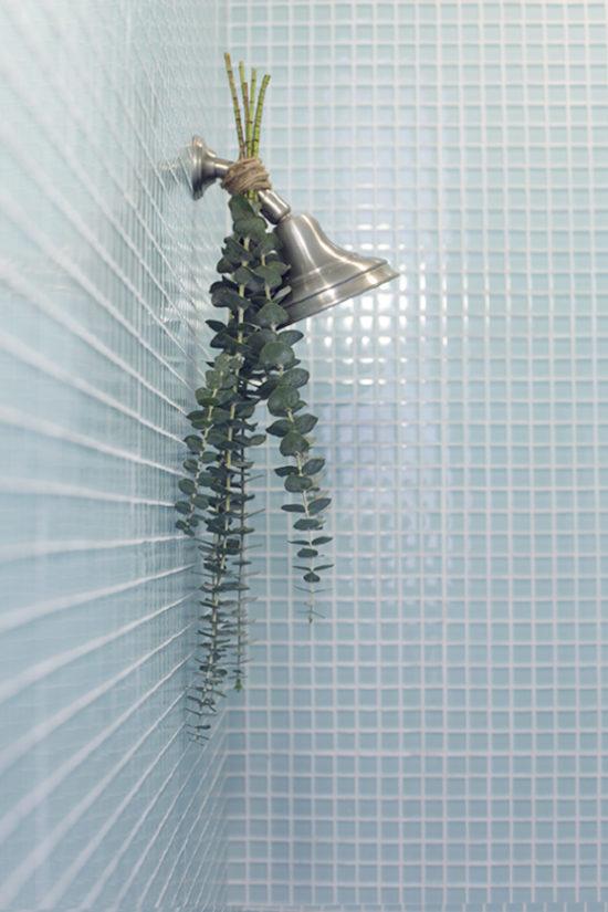 Eucalyptus-on-shower-head for a spa like feel