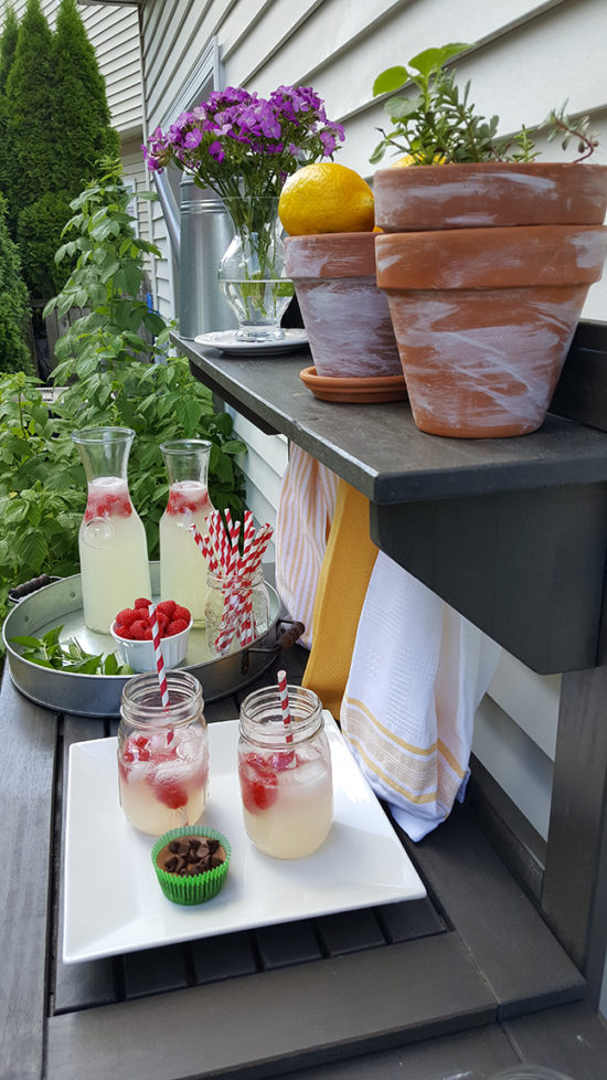 Lemonade with club soda and raspberries