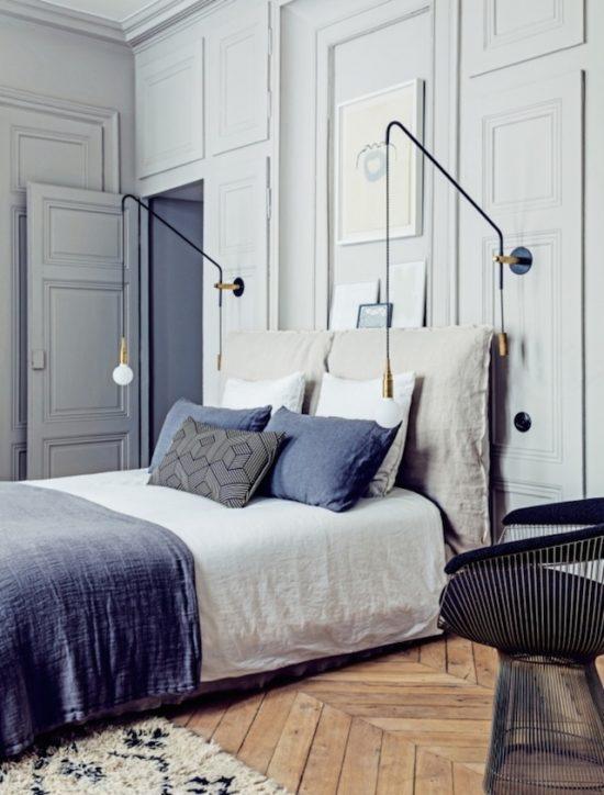 bedroom with herringbone floors