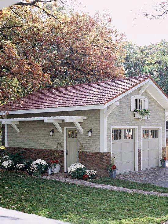garage with pergola