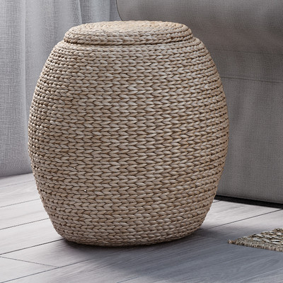 sisal storage basket with lid