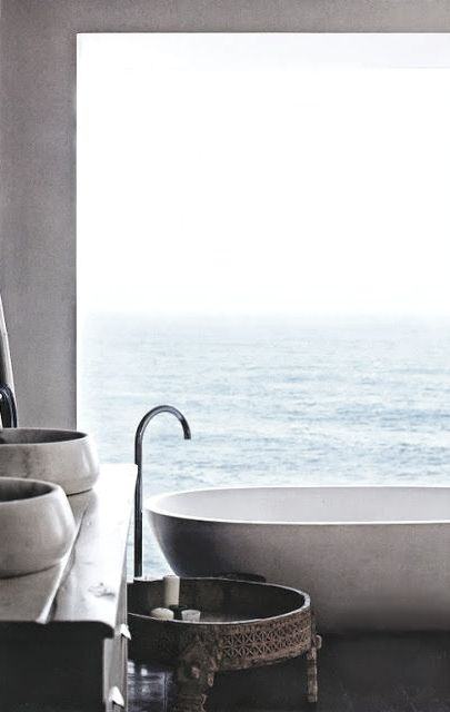 spa bath with ocean view