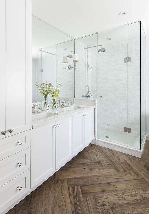 white-shaker-bath-vanity-cabinets-vintage-cross-handle-sink-faucets