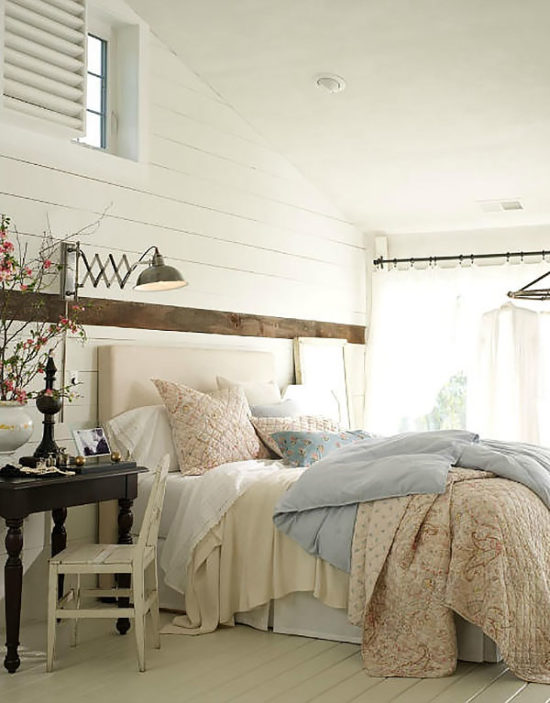 Coastal Living Bedroom with Shiplap walls