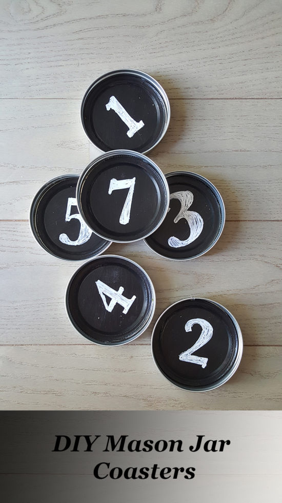 DIY Mason Jar Coasters with Chalkboard Paint and Numbered Stencils - theHoneycombHome.com