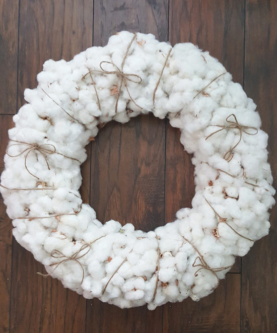 Fall Decorating - Cotton Wreath wrapped with twine