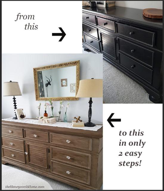 barnwood dresser makeover in only 2 steps
