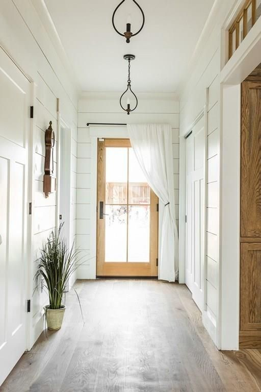 farmhouse foyer with shiplap