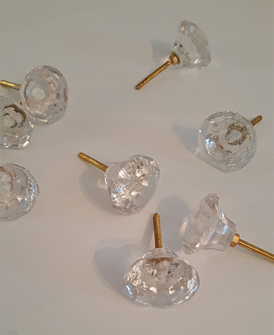 hobby lobby glass and gold knobs