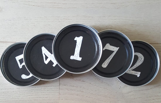 mason jar lid coasters with chalkboard paint