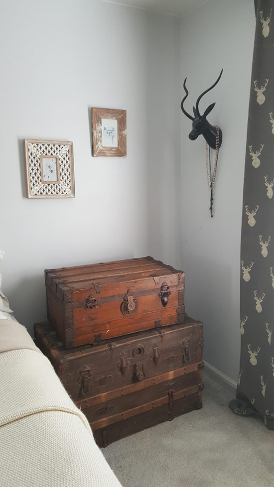 stacked steamer trunk nightstand