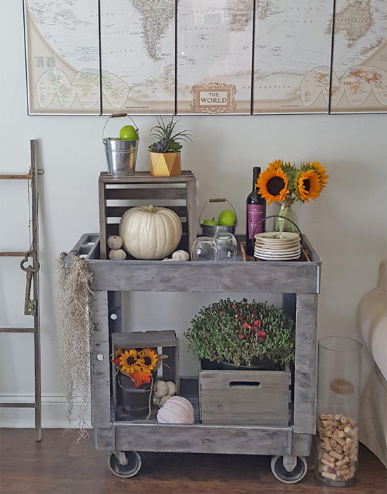 The Honeycomb Home - fall-bar-cart-crates-and-pallet