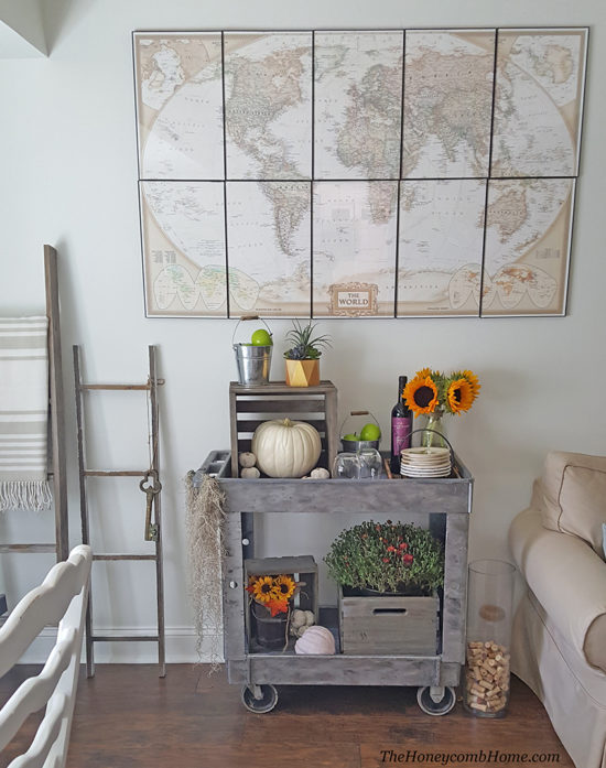fall-decorating-bar-cart-the-honeycomb-home cheap decorating ideas