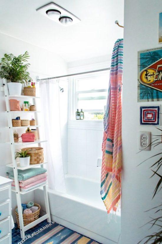 bright bathroom with ladder shelf