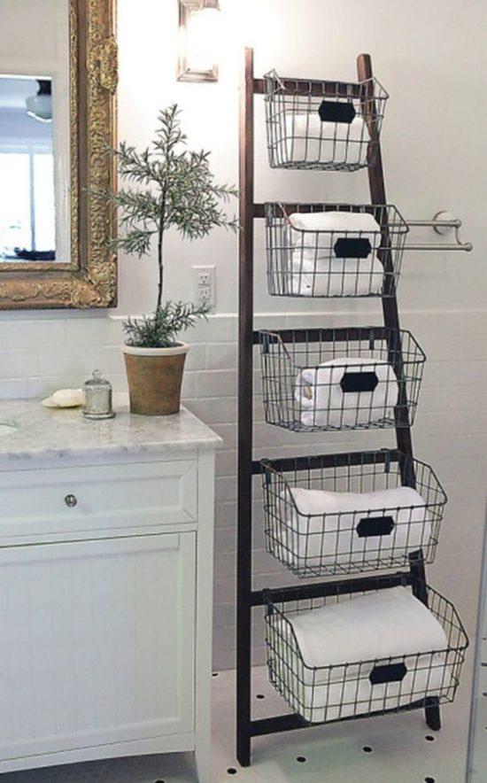 ladder shelf with baskets