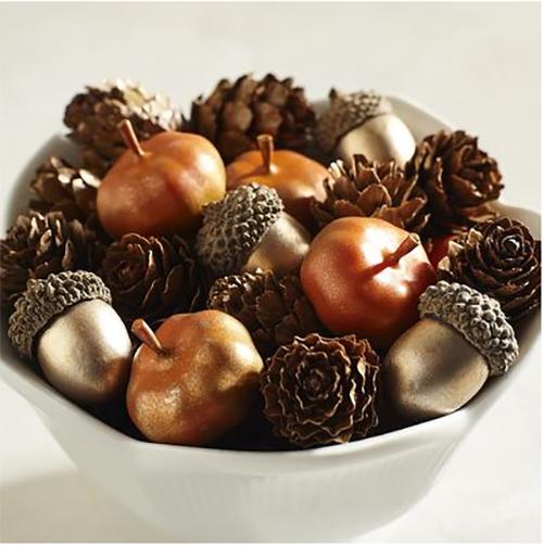 mini acorn and pinecone decor
