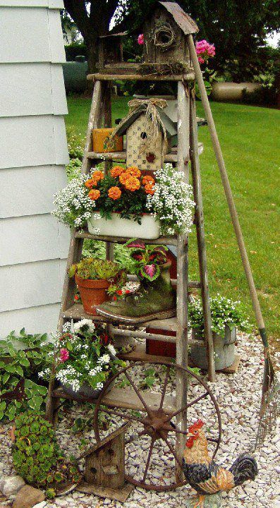 outdoor ladder plant stand