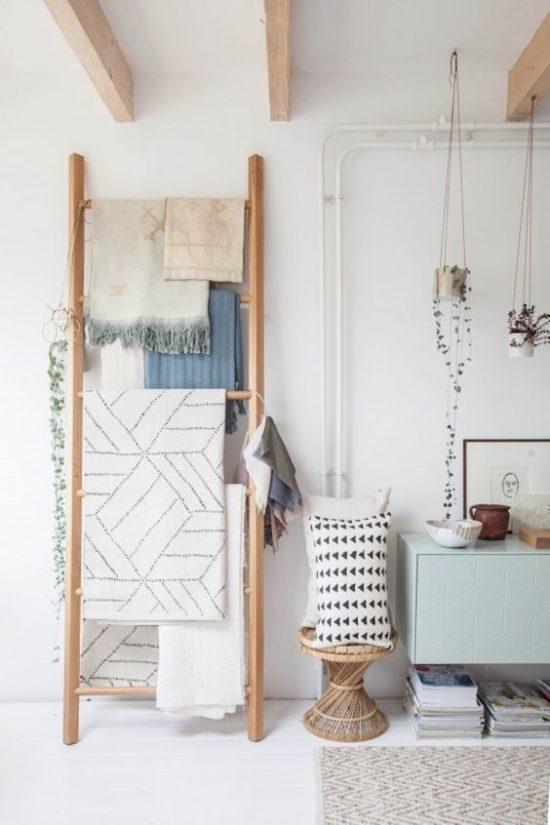 rustic ladder blanket holder