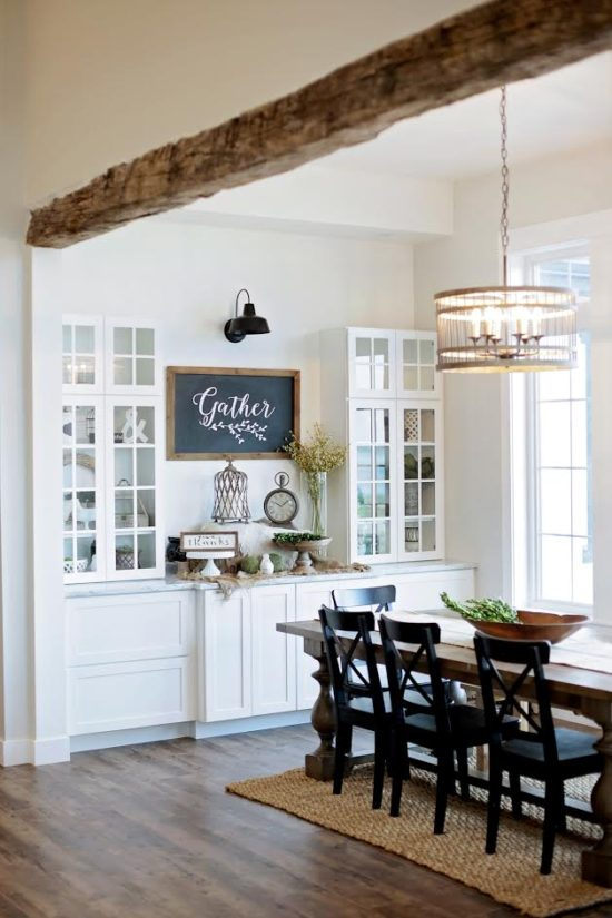 White walls with rustic wood beam from Fox Hollow Cottage