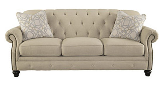 Tufted Ivory Sofa With Nailhead Trim